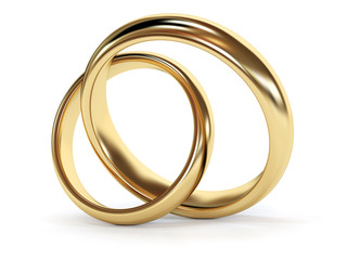 Gold wedding rings jointed. 3d rendered illustration