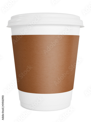 Paper take-out coffee in thermo cup isolated on white