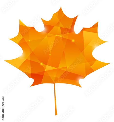 Autumn maple leaf in poligon style