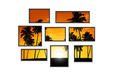 several windows on a white wall with tropical landscape at sunse