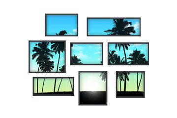 several windows on a white wall with tropical landscape at sunri