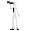 3d man businessman holding binoculars looking for opportunities