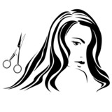 Dark haired girl with scissors in beauty salon b&w
