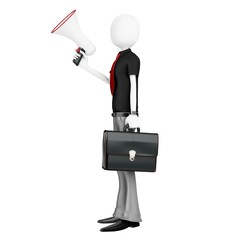 3d man businessman with a megaphone