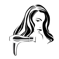 Dark haired girl with styler in beauty salon b&w v.2