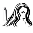 Dark haired girl with hair spray in beauty salon b&w