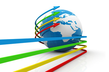 3d Earth globe and colourful Arrows