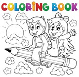 Fototapety Coloring book pupil theme 3