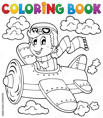 Coloring book airplane theme 1