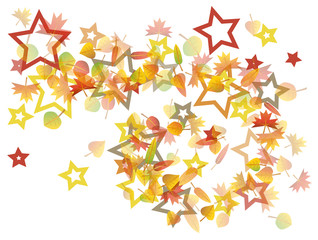 Colorful autumn leaves spiral with stars illustration