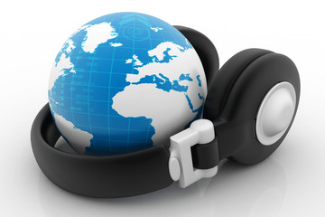 Headphone and globe on white background.