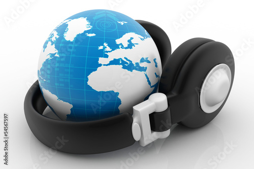 Headphone and globe on white background.