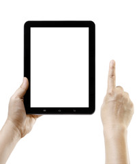 Hand holding android tablet like ipade with blank screen space
