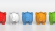 Piggy bank - orthographic raw of colorful pigs