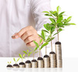 Businessman holding plant sprouting of coins