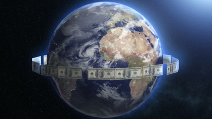 Dollar Bills around Earth. Planet cash flow, flying bucks.