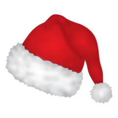 Flauschige, rote Weihnachtsmütze – Vektor und freigestellt