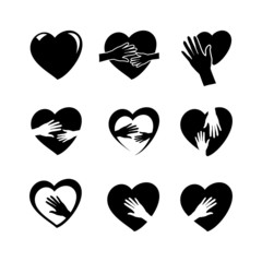 hands with heart icon set