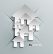 Vector 3d paper house / home modern design