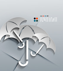Vector 3d paper umbrella modern design