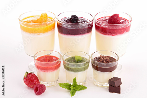 assortment of pannacotta isolated