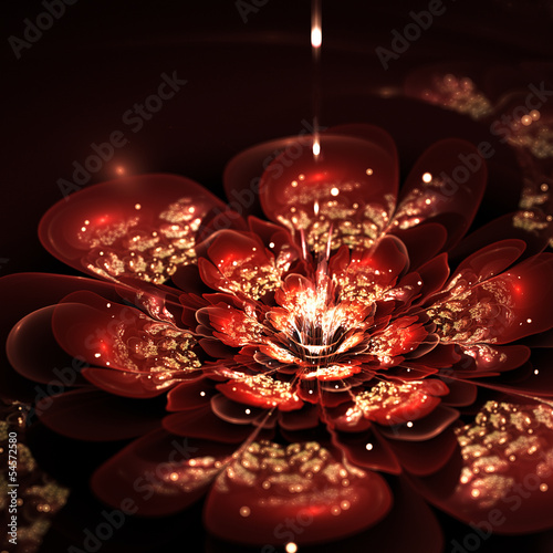 fractal flower with red and golden petals