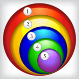 Multi-colored round icons with numbers