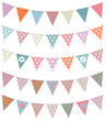 Set Of 5 Seamless Buntings Flowers Retro