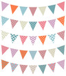Set Of 5 Seamless Buntings Dots Retro