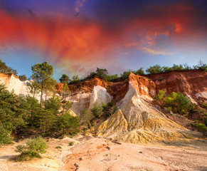 Colorado Provencal, Provence -France. Beautiful red rocks landsc