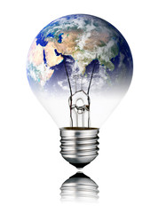 Lightbulb switched OFF - World Globe Asia