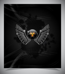 Badge with biohazard symbol and wings