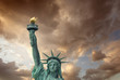 The Statue of Liberty - New York City. Front view with beautiful