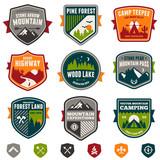 Vintage travel and camp badges poster
