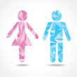 Abstract triangle male and female icon,vector illustration
