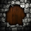 wood board in broken stone wall