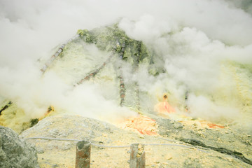 Sulfur from crater kawa ijen vocalno  in indonesia