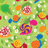 seamless snails with flowers and leaves
