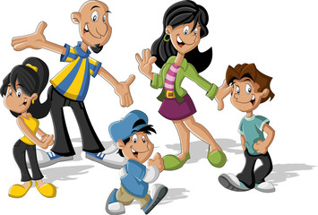 Colorful cute happy cartoon latin family. Latinamericans.