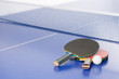 Table tennis rackets. Top view of table tennis rackets and ball