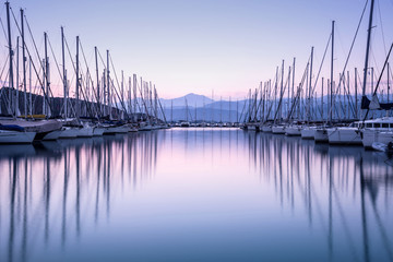 Yacht harbor in sunset © Anna Om