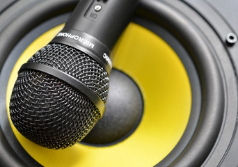 Audio microphone closeup