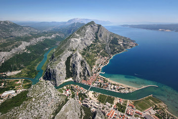 Omis city in Croatia, between sea, mountain and river Cetina