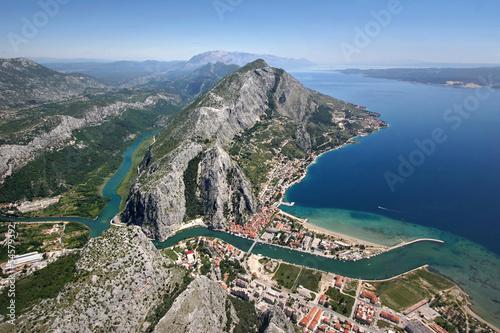 Omis city in Croatia, between sea, mountain and river Cetina