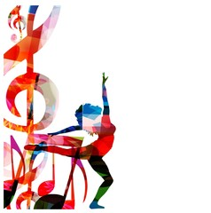 Abstract music background with a woman