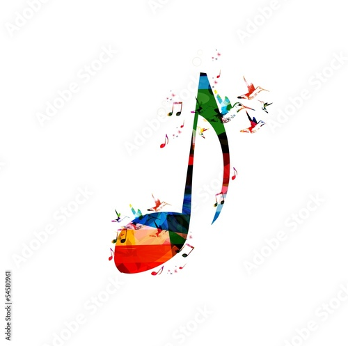 Colorful music note background with hummingbirds