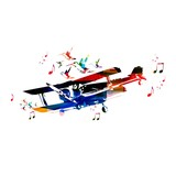 Colorful vector airplane background with hummingbirds