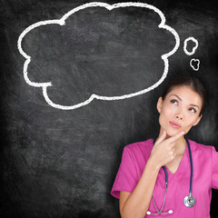 Medical concept - thinking nurse doctor blackboard