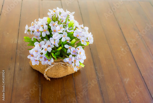 Artificial Flowers in the sack pot