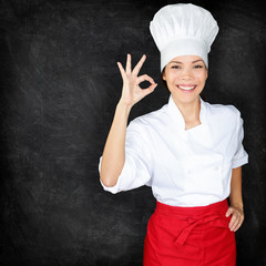 Chef showing Perfect hand sign and menu blackboard